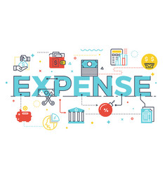 expense word lettering vector image vector image