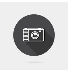 Flat icon photo or camera icon with long shadow vector