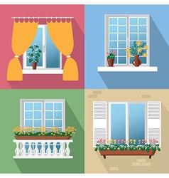 flowers on window vector image vector image