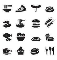 Food and drink icons set vector