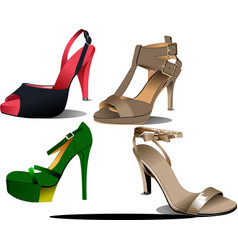 Four pairs of fashion woman shoes vector