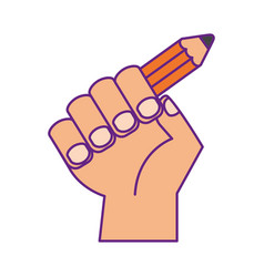 hand human with pencil school vector image vector image