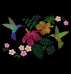 hummingbird around flower plumeria hibiscus exotic vector image vector image