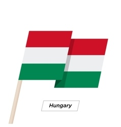 Hungary ribbon waving flag isolated on white vector