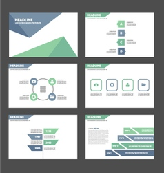 Light Blue green presentation templates set vector image vector image