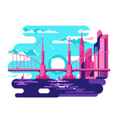 Modern urban bridge design flat vector