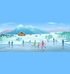 Mountain winter recreation template vector