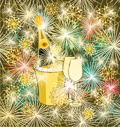 New year colorful fireworks and champagne vector