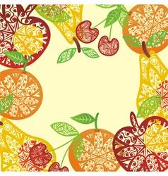 Ornamental Fruit frame vector image vector image