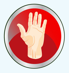 palm of the person on button vector image vector image
