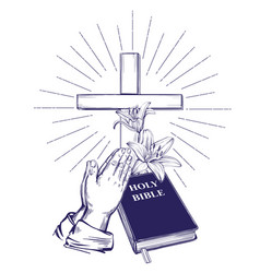 Praying hands bible gospel crown of thorns vector