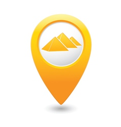 pyramid icon on map pointer yellow vector image vector image
