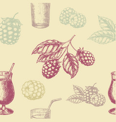 Raspberry blackberry and milkshakes seamless vector