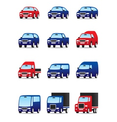 Road transportations icon set vector image vector image