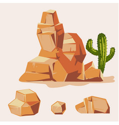 set of desert rocks cartoon isometric 3d flat vector image vector image
