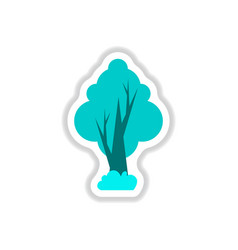 set of labels with shadow tree icon tree vector image