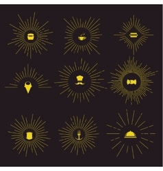 Sunburst vintage design set vector