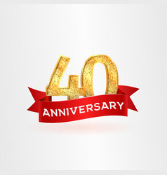 the fortieth anniversary golden logo with red vector image