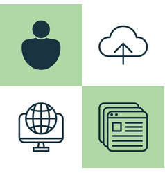 Web icons set collection of user global vector