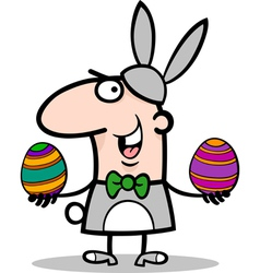 Man in easter bunny costume cartoon vector