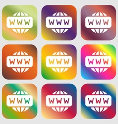 Www icon sign nine buttons with bright gradients vector