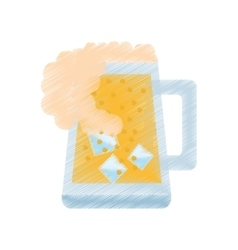 Drawing mug glass beer foam ice drink vector
