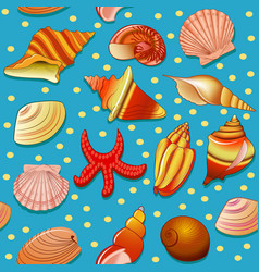Seamless background with shells and starfish vector