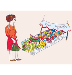 Woman at the fruit and vegetables market vector