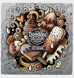 ice cream cartoon doodle vector image