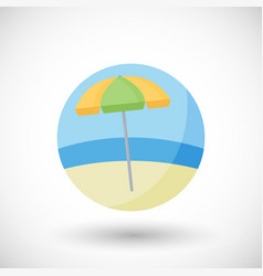 Beach umbrella flat icon set vector