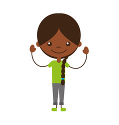 Cute black girl character icon vector