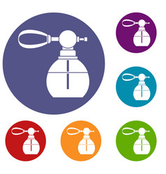Perfume bottle with vaporizer icons set vector