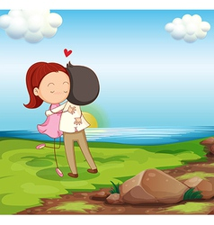 Lovers dating at the riverbank vector