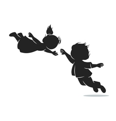 Girl and boy in flight vector