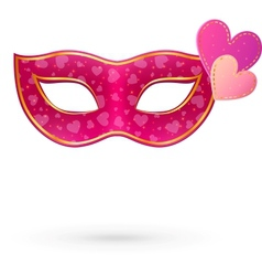 Pink carnival mask with hearts vector