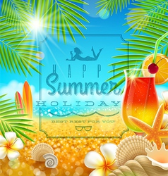 Tropical summer vacation greetings design vector image