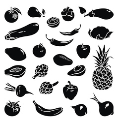 Fruits Vegetables Icons vector image