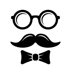 Hipster Style Set Bowtie Glasses and Mustaches vector image