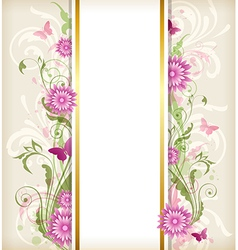 Vintage floral background with pink flowers vector image