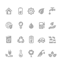 Set of eco energy icons with nuclear and solar vector