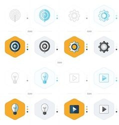 Icons design 4 styles play light setting vector