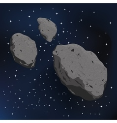 An asteroid and meteorite vector