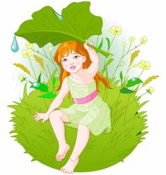 Girl under leaf vector