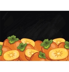 Persimmon fruit composition on chalkboard vector image