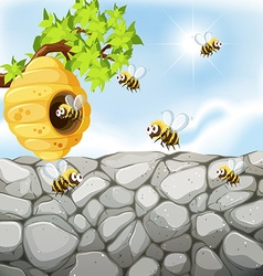 Bees flying around the beehive vector