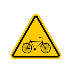 Attention cyclist bicycle on yellow triangle road vector