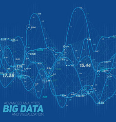 big data line graph blue vector image vector image