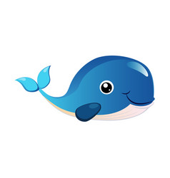 blue humpback whale sea creature colorful vector image vector image