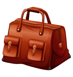 Brown leather bag on white background vector