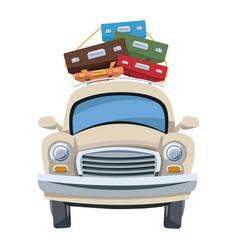 Car tourism travel luggage retro vector